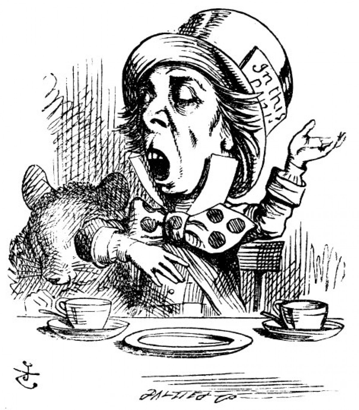 The Mad Hatter From Alice In Wonderland Bw Line Drawing